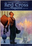 Red Cross cover, September 1920, Gerrit Beneker, worker in front of skyline.