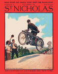 St. Nicholas magazine cover, September 1915, Norman Price, motorcycle stunts.