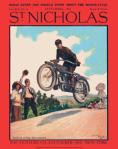 St. Nicholas magazine cover, September 1915, Norman Price, motorcycle stunts.