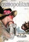 Cosmopolitan cover, September 1920, Harrison Fisher, woman having tea with dog.