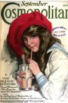Cosmpolitan cover, September 1915, Harrison Fisher, young woman sipping milkshake in red hat.