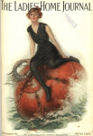 Ladies' Home Journal cover, September 1915, Lester Ralph, woman sitting on naval mine.