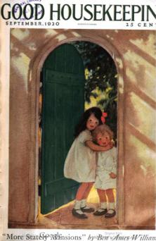 Good Housekeeping cover, Jesse Wilcox Smith, September 1920, little girls hugging in doorway.