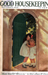 Good Housekeeping cover, Jesse Wilcox Smith, September 1920, little girls hugging in doorway.