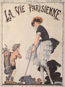 La Vie Parisienne, September 18, 1920, woman playing golf with caddy.