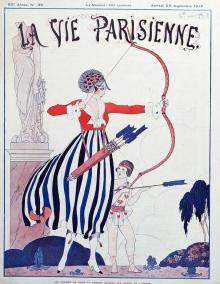 La Vie Parisienne cover, September 25, 1915, woman shooting arrow.