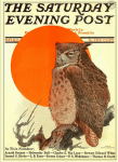 Saturday Evening Post cover, Charles Livingston Bull, September 18, 1915, owl in front of sun.
