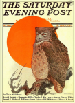 Saturday Evening Post cover, September 18, 1915, Charles Livingston Bull, owl in front of orange sun.