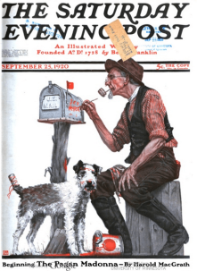 Saturday Evening post cover, September 25, 1920, Alfred E. Orr, man painting name on mailbox.
