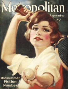 Metropolitan cover, September 1920, Edna Crompton, woman serving at tennis.