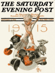 Saturday Evening Post January 9, 1915 cover, J.C. Leyendecker, New Year's baby brushing away military hats.