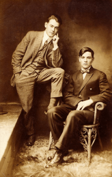 Vintage photo, young male couple.