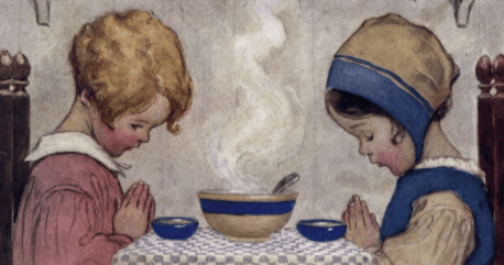 Jessie Willcox Smith cover, Good Housekeeping, November 2020, two children praying over soup.
