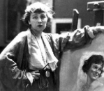 Neysa McMein at easel, 1918.