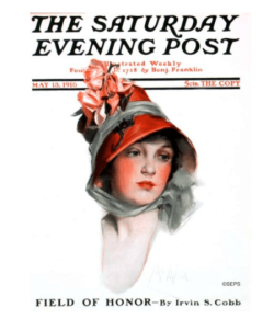 Saturday Evening Post Neysa McMein cover, 1916, woman wearing hat.