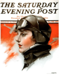 Neysa McMein Saturday Evening Post cover, woman pilot.