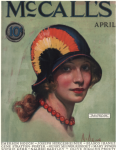 McCall's cover, April 1924, Neysa McMein, woman wearing colorful hat.