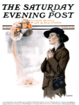 Edna Crompton Saturday Evening Post cover, 1917, woman looking longingly at hat.
