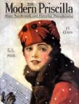 Edna Crompton Modern Priscilla cover, February 1918, woman with letter.