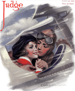 Edna Crompton Judge magazine cover, pilot and woman in plane.
