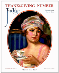 Edna Crompton Thanksgiving Judge magazine cover, 1920, woman holding teacup.