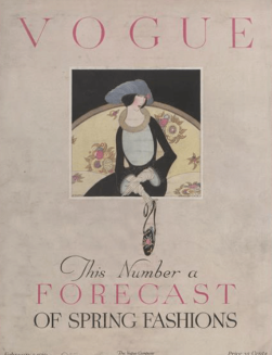 Vogue cover, Harriet Meserole, 1919, woman on white background.