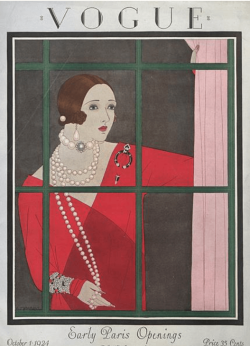 Harriet Meserole Vogue cover, 1924, woman looking out window.