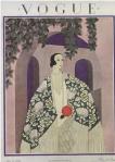 Harriet Meserole Vogue cover, 1924, woman in kimono outside house.