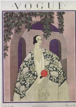 Harriet Meserole Vogue cover, 1924, woman in kimono outside house.