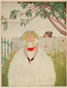 Frontispiece, Fairies and Chimneys by Rose Fylman, two girls separated by fence.