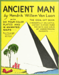 Cover, Ancient Man, by Hendrik Willem Van Loon, pyramids on yellow background.