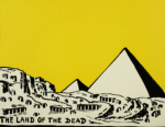 Ancient Man by Hendrik Willem Van Loon, 1920, pyramids on yellow background.