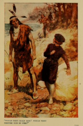 Argonauts of Faith illustration, white boy cowering from Indian.