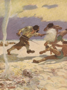 N.C. Wyeth illustration from Robinson Crusoe, Crusoe shooting murtherers.