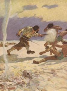 N.C. Wyeth illustration from Robinson Crusoe, Crusoe shooting murtherers.