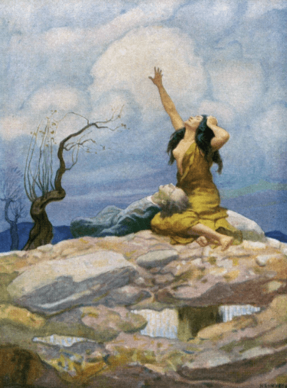N.C. Wyeth illustration from Westward Ho!, bare-chested woman with dead man on her lap.
