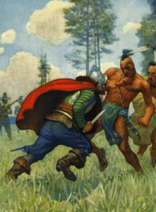 N.C. Wyeth illustration from The Courtship of Miles Standish, man stabbing Indian.