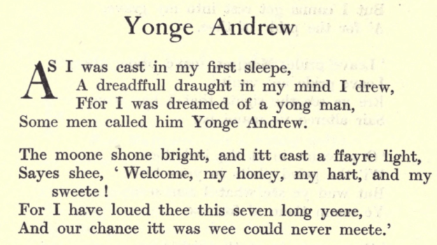 Text from Yonge Andrew, Some British Ballads.