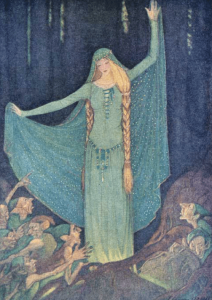 Illustration from Grimm's Fairy Tales by Elenore Abbott, woman in veil with long braids.