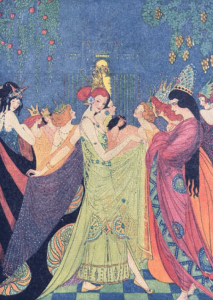 Illustration from Grimm's Fairy Tales by Elenore Abbott, women at party.