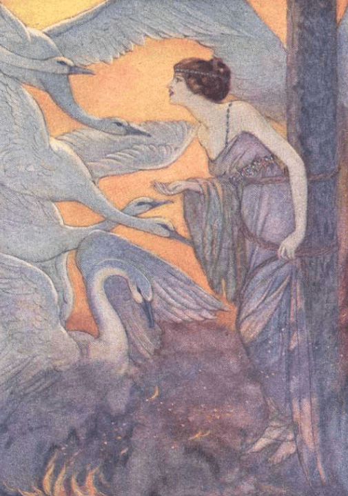 Illustration by Elenore Abbott, Grimm's Fairy Tales, 1920, woman with swans.