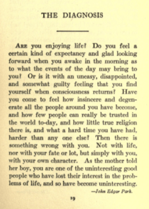 Text of The Diagnosis, from The Good Cheer Book.