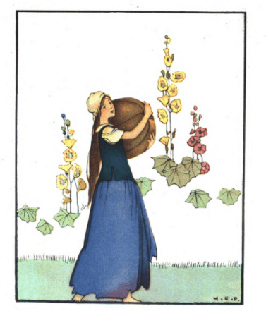 Margaret Evans Price illustration from Cinderella, Cinderella doing chores.