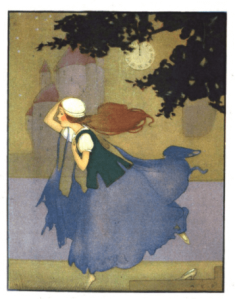 Margaret Evans Price illustration from Cinderella, Cinderella running away from ball.