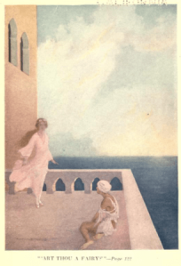 Illustration from The Jewish Fairy Book, girl and fairy on terrace.