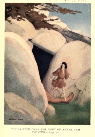 Illustration from The Jewish Fairy Book, man walking out of cave.
