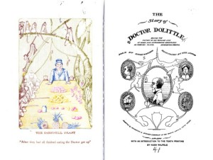 Dr. Dolittle title page and frontispiece, 1920.