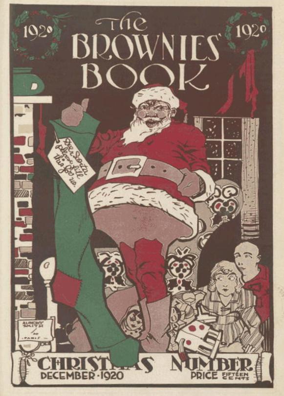 The Brownies' Book, December 1920, black Santa on roof.