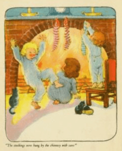 Nyce illustration, The Night Before Christmas, 1920, children dancing in front of fire.