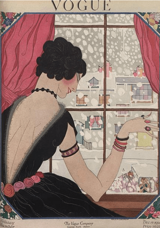 Helen Dryden Vogue cover, December 1920, woman looking out at snow.